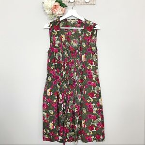Rachel Roy Green and pink floral drawstring dress